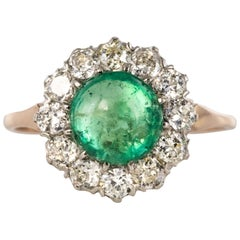 19th Century 1.70 Carat Cabochon Emerald Diamonds 18 Karat Rose Gold Ring