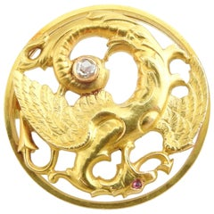 19th Century 18 Karat Gold Griffin Dragon Rose Cut Diamond Ruby Brooch