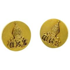 19th Century 18 Karat Gold MBS Engraved Bishop Lcket Style Bishops Cufflinks