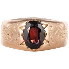 19th Century 18 Karat Rose Gold 1.20 Carat Garnet Bangle Men's Ring