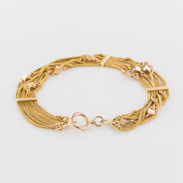 19th Century 18 Karat Rose Gold Chains and Cubes Bracelet For Sale 6