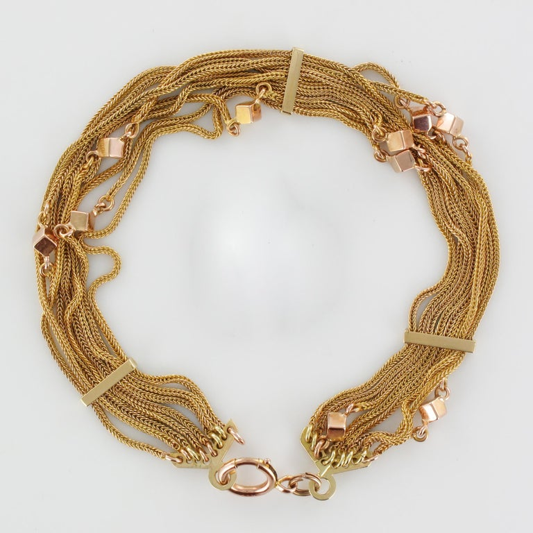 19th Century 18 Karat Rose Gold Chains and Cubes Bracelet For Sale 7