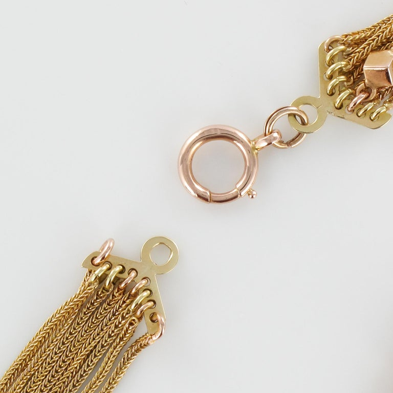 19th Century 18 Karat Rose Gold Chains and Cubes Bracelet For Sale 9