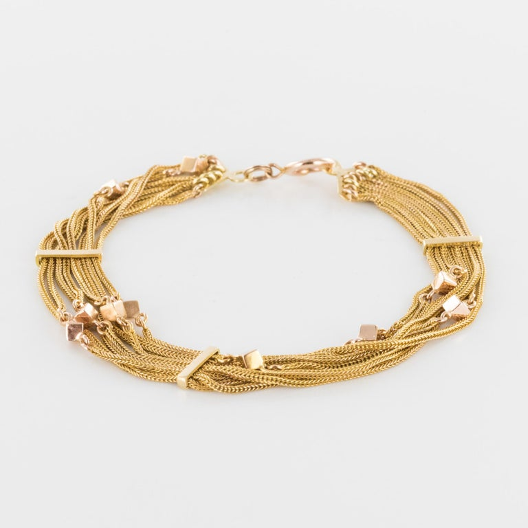 19th Century 18 Karat Rose Gold Chains and Cubes Bracelet For Sale 2