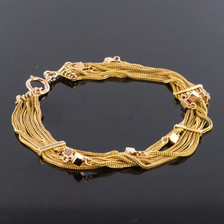 19th Century 18 Karat Rose Gold Chains and Cubes Bracelet For Sale 4