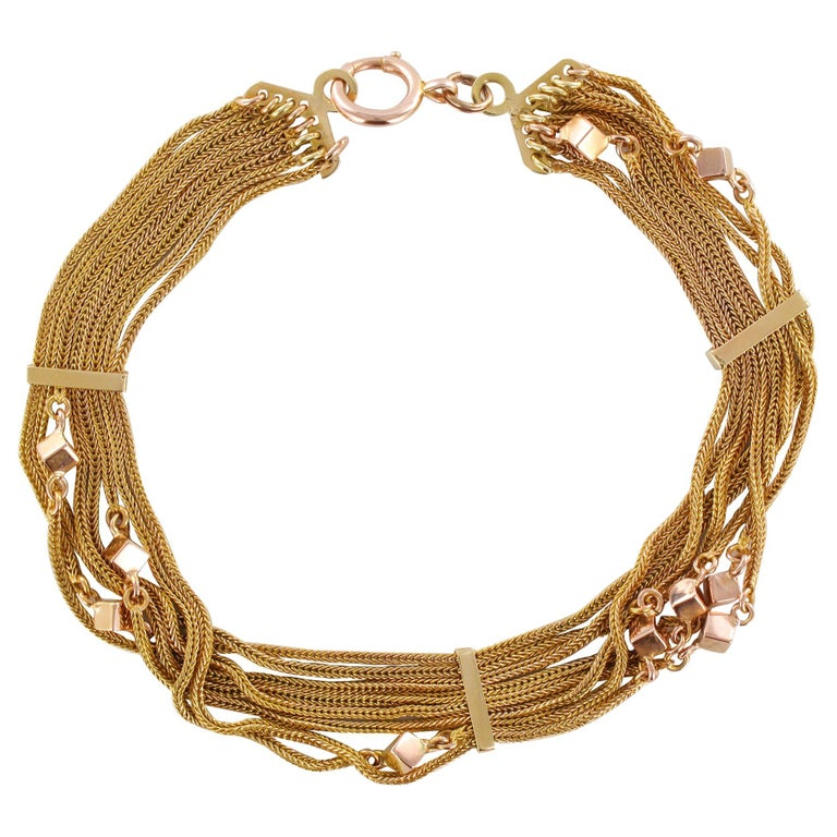 19th Century 18 Karat Rose Gold Chains and Cubes Bracelet For Sale