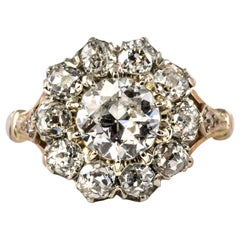 19th Century 18 Karat Rose Gold Platinum Diamonds Daisy Engagement Ring