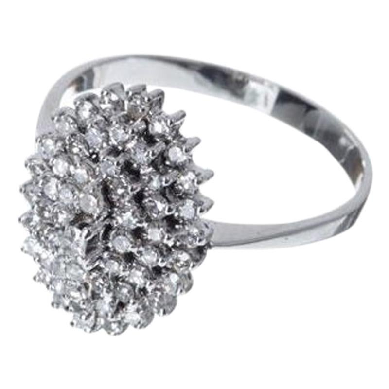 19th Century 18 Karat White Gold Diamonds Ring