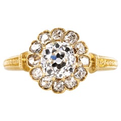 19th Century 18 Karat Yellow Gold Diamonds Daisy Ring
