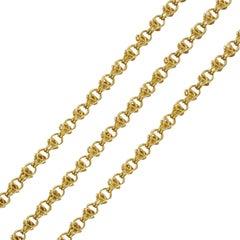 Lange Matinee Halskette aus 18 Karat Gelbgold, 19. Jahrhundert