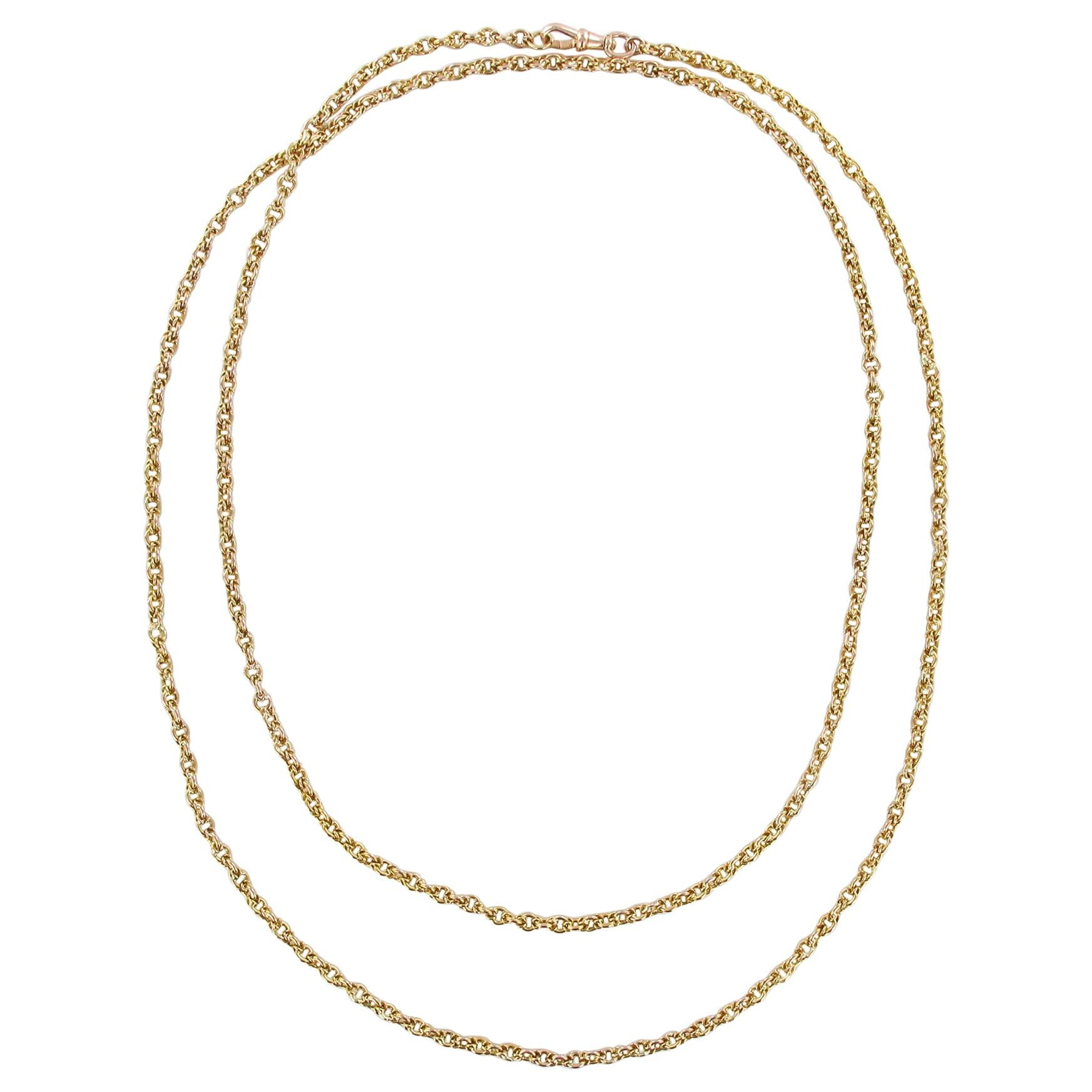 19th Century 18 Karat Yellow Gold Long Chain Necklace