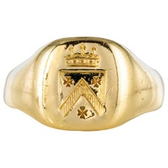 19th Century 18 Karat Yellow Gold Men Signet Ring