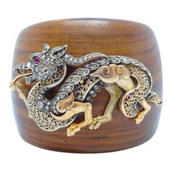 19th Century 18K Gold Silver Ruby and Diamond Dragon Brooch on Cuff Bracelet