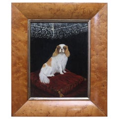 19th Century 1904 Oil on Canvas Cavalier King Charles Spaniel Dog Folk Art