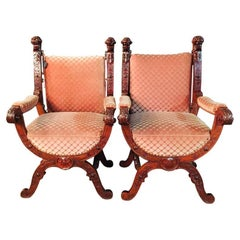 19th Century 2 Armchairs Antique Baroque Style Scissor Chair Lion Heads