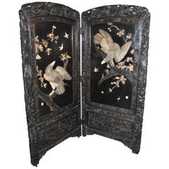 19th Century 2-Panel Carved Chinese Dressing Screen / Room Divider