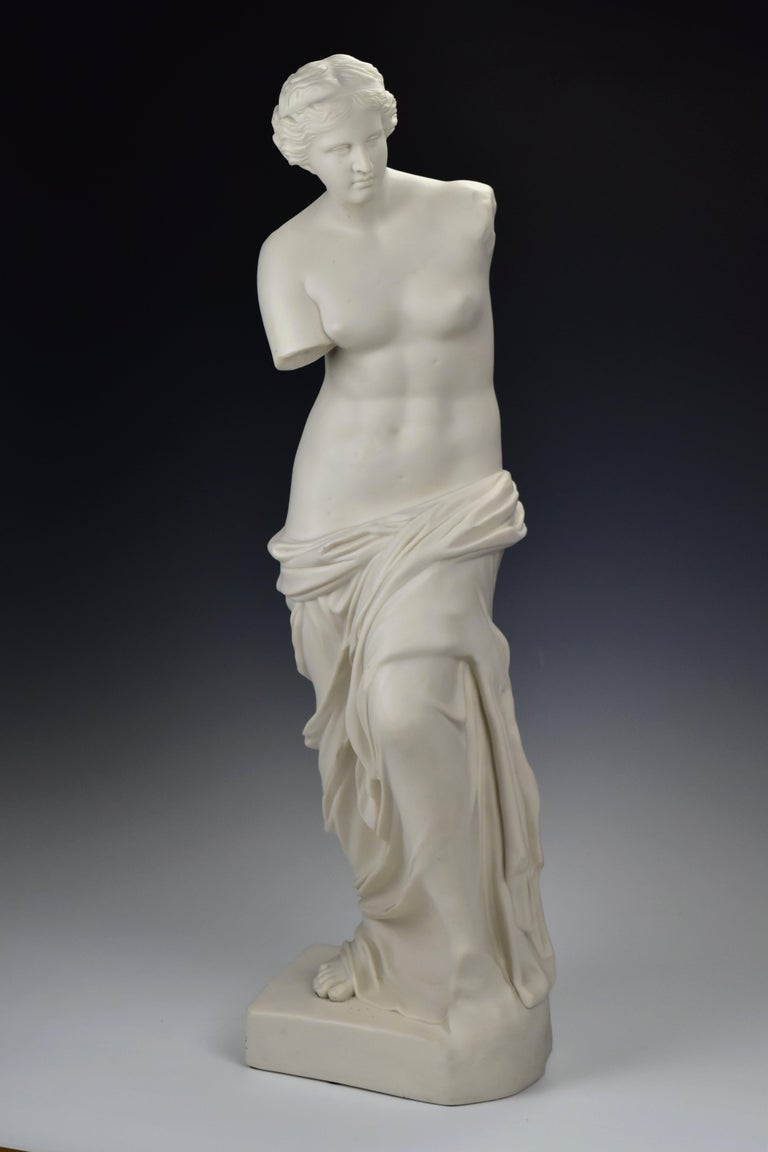 Large Parian porcelain statue in the form of Venus de Milo, the Greek goddess of love, fine detail, unmarked.  Age: circa 1850-1899.  Size: Approximately 28 + 1/8 inches tall and 8 + 3/8 inches across the base  Condition: Age appropriate, some