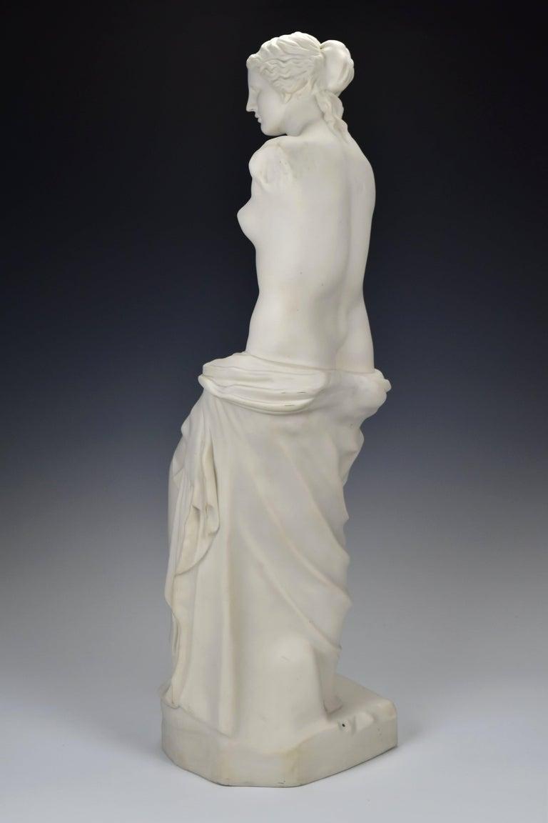 19th Century 28 Inch Parian Porcelain Statue Venus de Milo Greek Goddess of Love For Sale 2