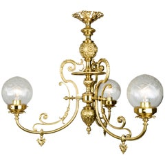 19th Century 3-Arm Electrified Gas Light Chandelier of Elaborately Cast Brass