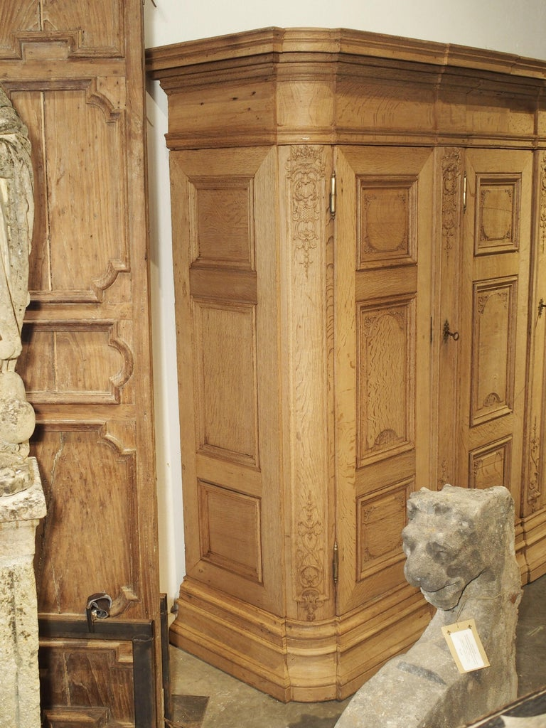 19th Century 3-Door French Oak Sacristy Cabinet in the Regence Style For Sale 8