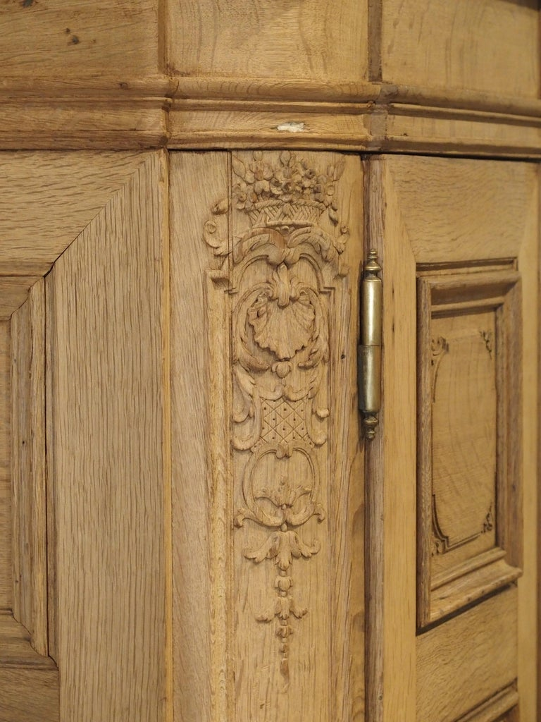 19th Century 3-Door French Oak Sacristy Cabinet in the Regence Style For Sale 11
