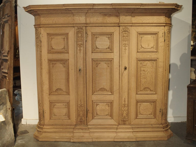 Louis XIV 19th Century 3-Door French Oak Sacristy Cabinet in the Regence Style For Sale