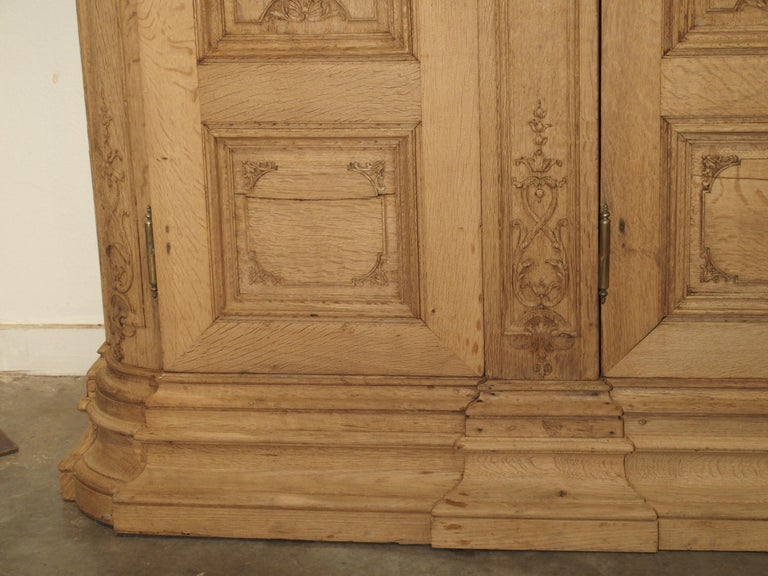 Hand-Carved 19th Century 3-Door French Oak Sacristy Cabinet in the Regence Style For Sale
