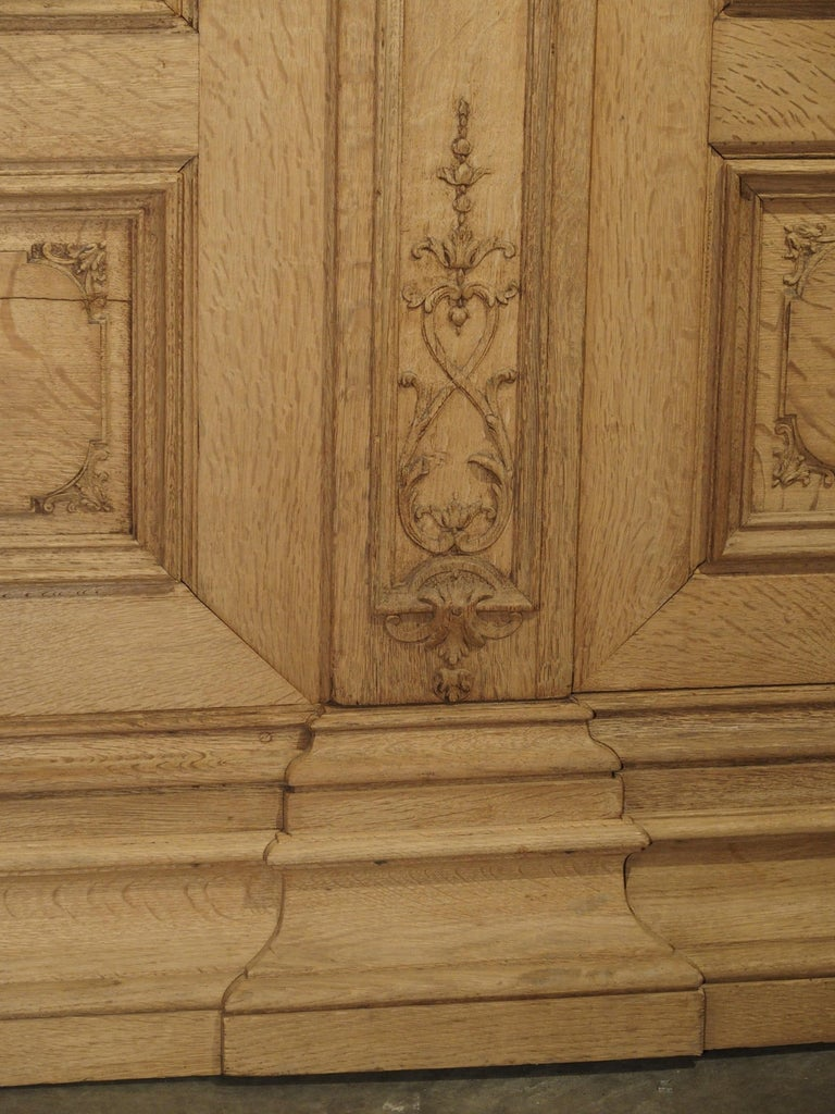19th Century 3-Door French Oak Sacristy Cabinet in the Regence Style In Good Condition For Sale In Dallas, TX