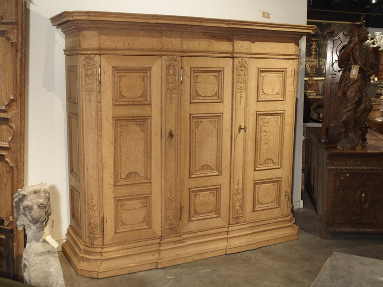 19th Century 3-Door French Oak Sacristy Cabinet in the Regence Style For Sale 1