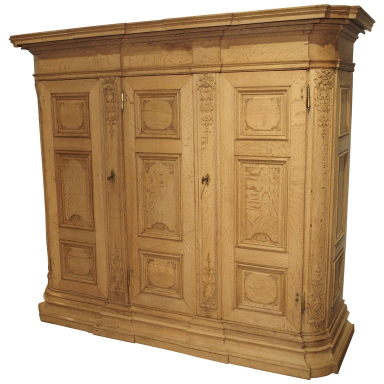 19th Century 3-Door French Oak Sacristy Cabinet in the Regence Style For Sale