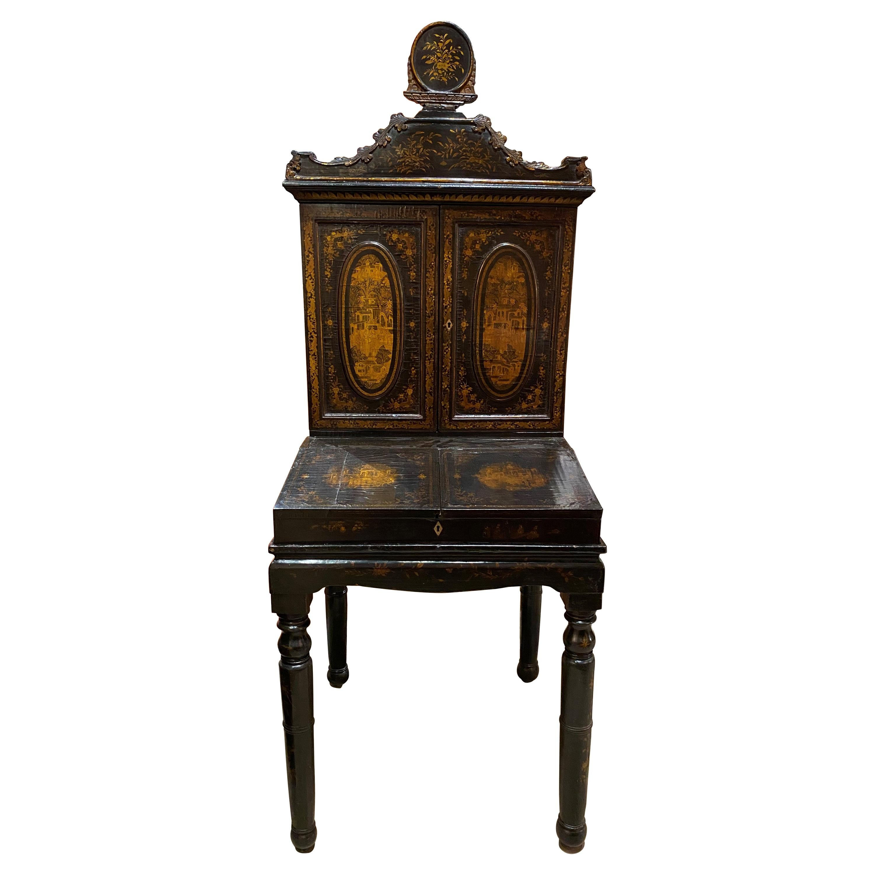 19th Century 3-Piece Diminutive Lacquer Secretary Desk with Nice Chinoiserie