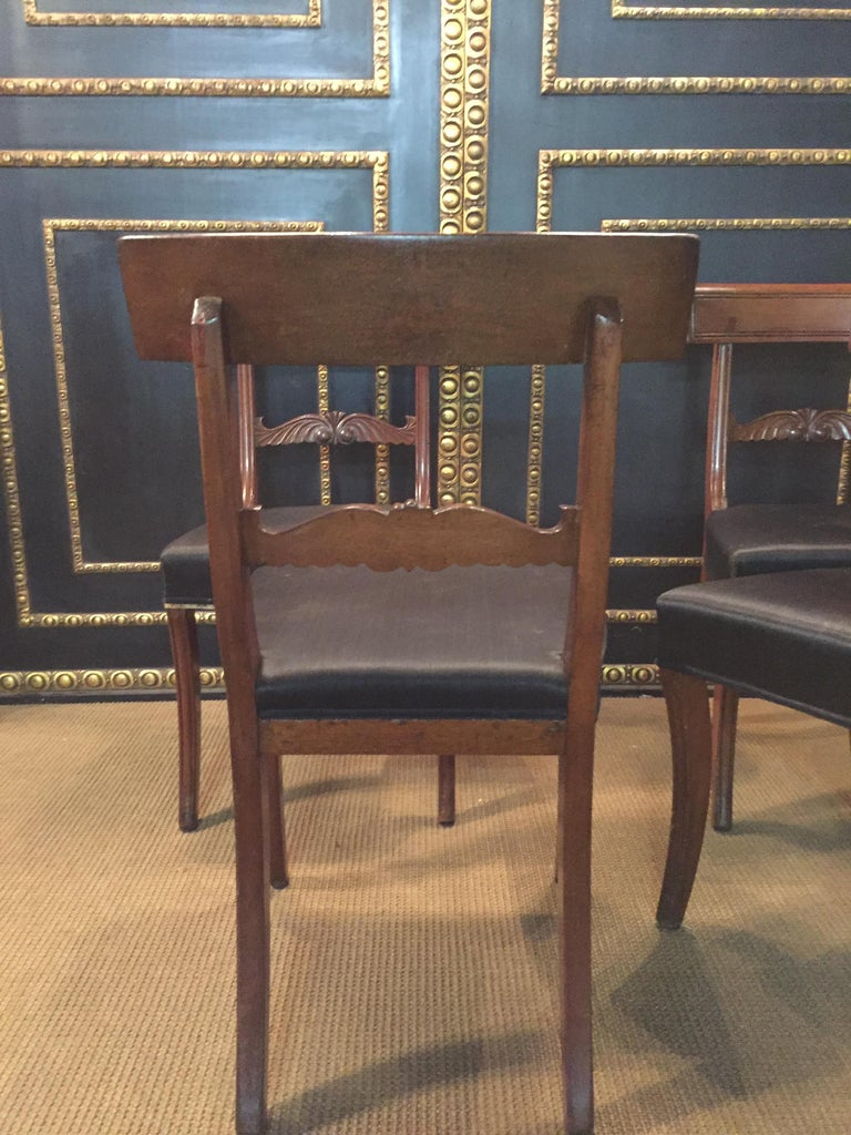 19th Century 4 Biedermeier Saber-Legs Chairs Are Solid Mahogany For Sale 5