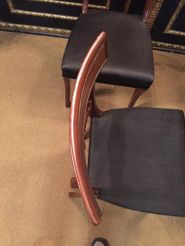 19th Century 4 Biedermeier Saber-Legs Chairs Are Solid Mahogany For Sale 6