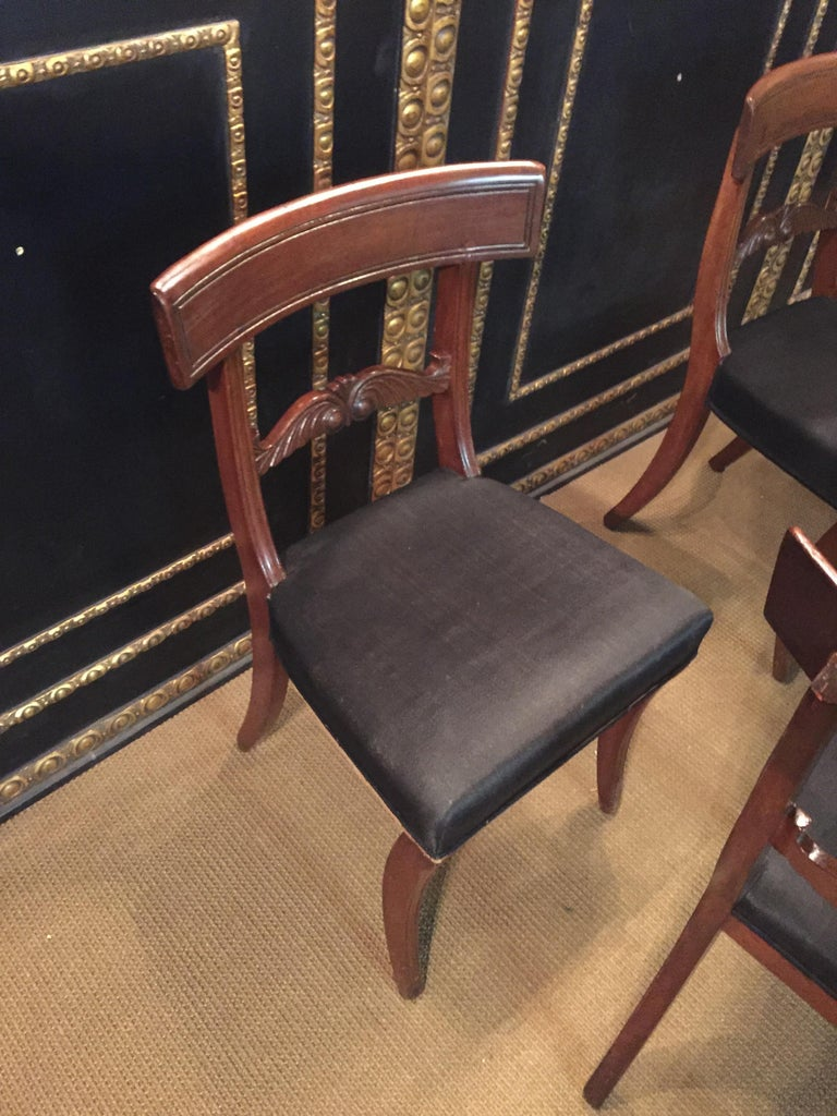 19th Century 4 Biedermeier Saber-Legs Chairs Are Solid Mahogany For Sale 8