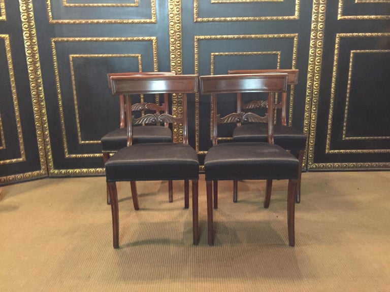 German 19th Century 4 Biedermeier Saber-Legs Chairs Are Solid Mahogany For Sale