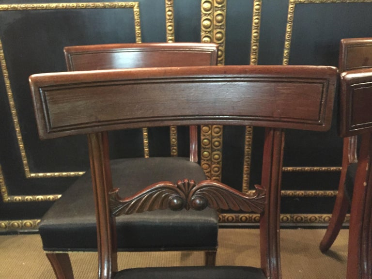 19th Century 4 Biedermeier Saber-Legs Chairs Are Solid Mahogany In Good Condition For Sale In Berlin, DE