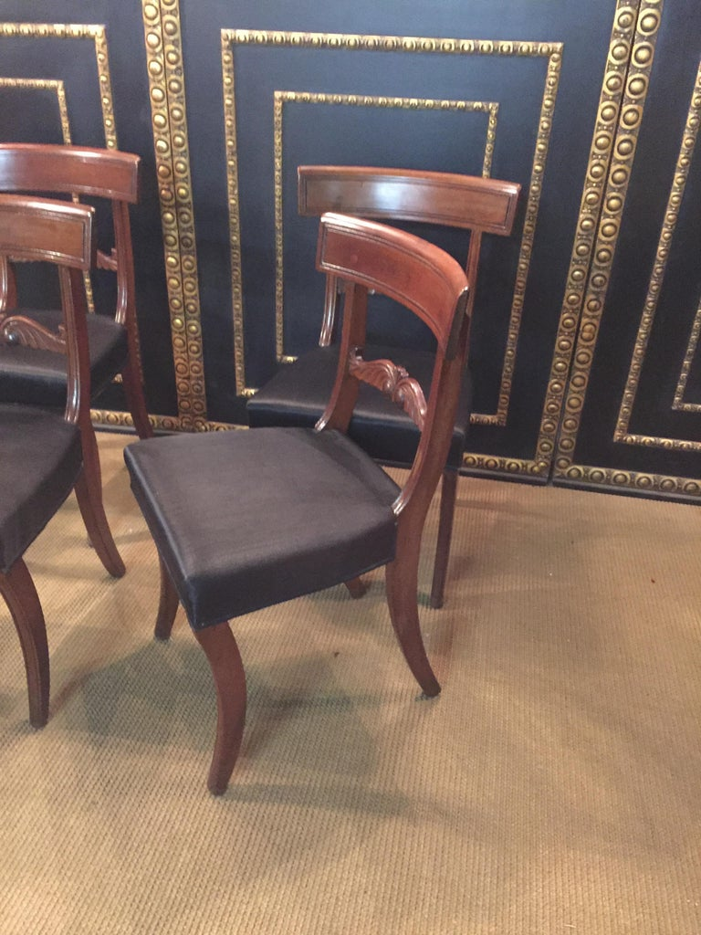 19th Century 4 Biedermeier Saber-Legs Chairs Are Solid Mahogany For Sale 1