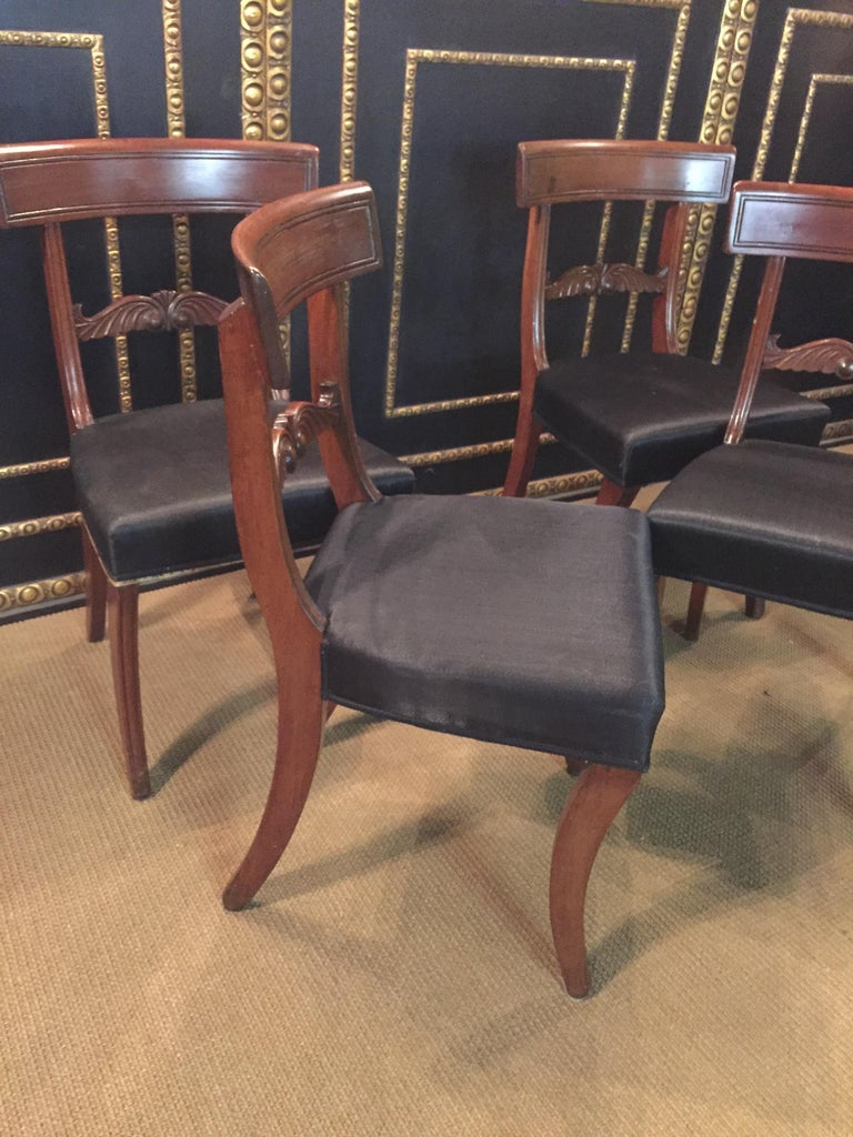 19th Century 4 Biedermeier Saber-Legs Chairs Are Solid Mahogany For Sale 2