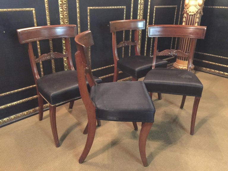 19th Century 4 Biedermeier Saber-Legs Chairs Are Solid Mahogany For Sale 3
