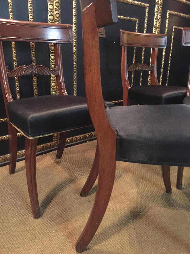 19th Century 4 Biedermeier Saber-Legs Chairs Are Solid Mahogany For Sale 4