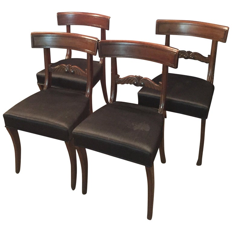 19th Century 4 Biedermeier Saber-Legs Chairs Are Solid Mahogany For Sale