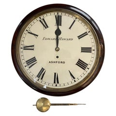 19th Century 7 Day English Dial Fusee Wall Clock by Haward of Ashford