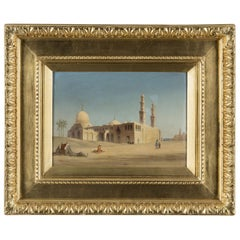 19th Century a Fine Quality Orientalist Signed Painting Flag