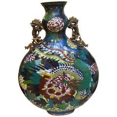 19th Century, a Large Cloisonné Enamel Moonflask