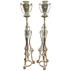 19th Century a Pair of Gueridon with Vases Empire Revival Brass, 1880s