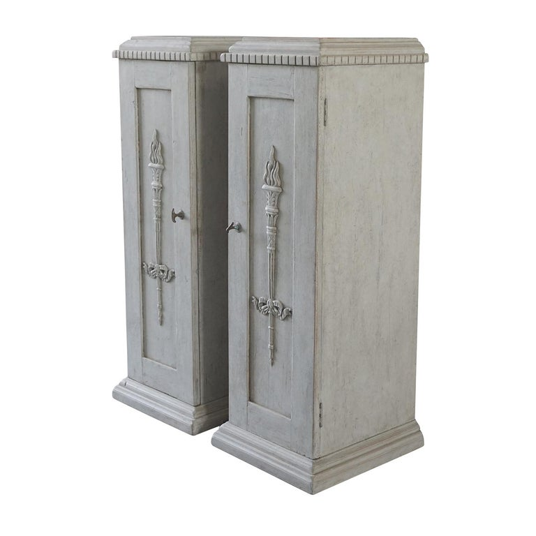 Swedish 19th Century, a Pair of Gustavian Pedestal Cabinets For Sale