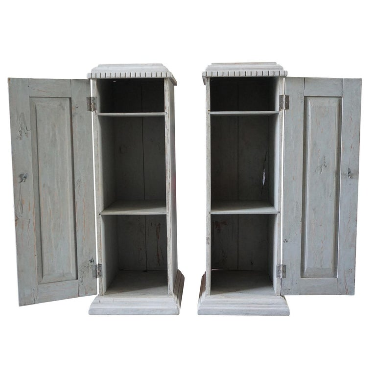 Pine 19th Century, a Pair of Gustavian Pedestal Cabinets For Sale