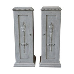 19th Century, a Pair of Gustavian Pedestal Cabinets