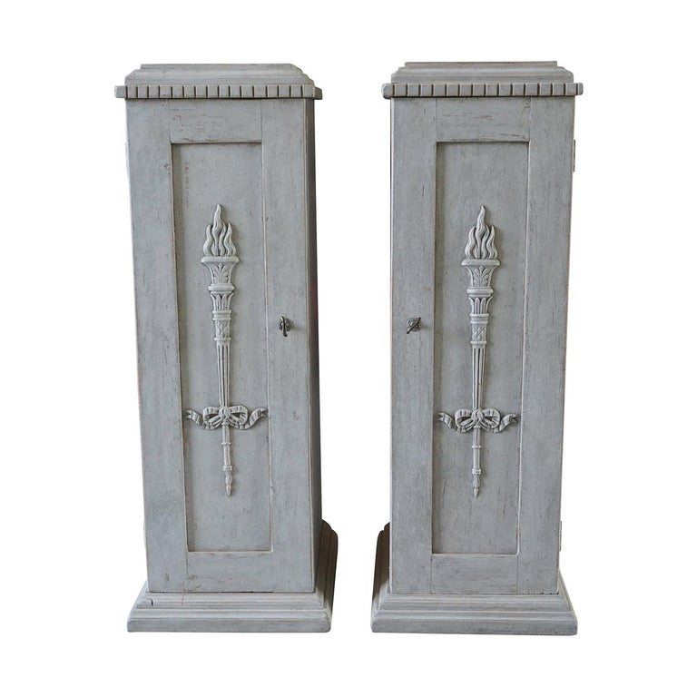19th Century, a Pair of Gustavian Pedestal Cabinets For Sale