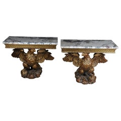 19th Century a Pair of Magnificent Eagle Consoles Designed by William Kent